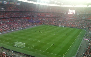 Sun streams through the roof before the 2012 Olympics women's football final at Wembley