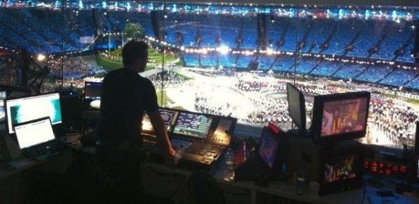 Tim Routledge on the lighting desk at the Olympics Stadium, London