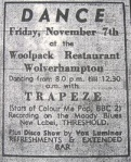 Poster for Trapeze at The Woolpack Restaurant