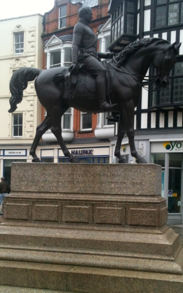The renovated Man on The Oss (Prince Albert) statue in Queen Square, Wolverhampton