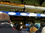 New owners address Vale fans from the directors's box in the Lorne Street stand