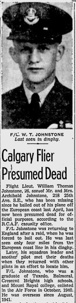 The report in the Calgary Press of the death of Flight Lieutenant William Thomas Johnstone