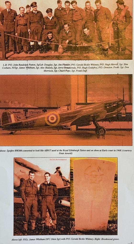 The Inspirer with photographs of Gerald Bickle Whitney Junior, his squadron and his grave