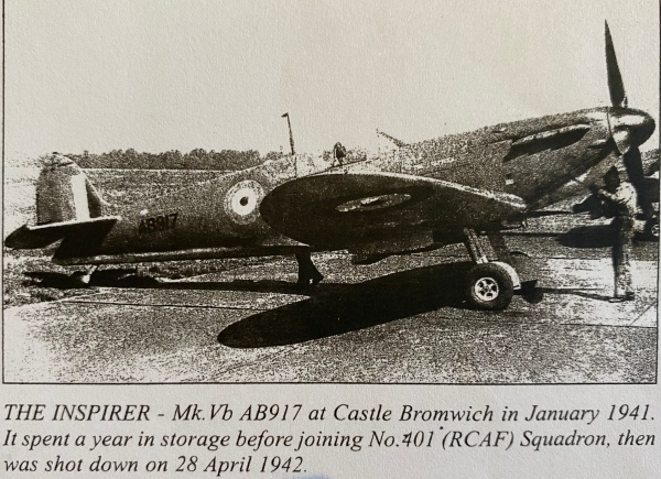 The Inspirer pictured in the book Gifts of War Spitfires And Other Presentation Aircraft in Two World Wars written by Henry Boot and Ray Sturtivant and published by Air-Britain in 2005