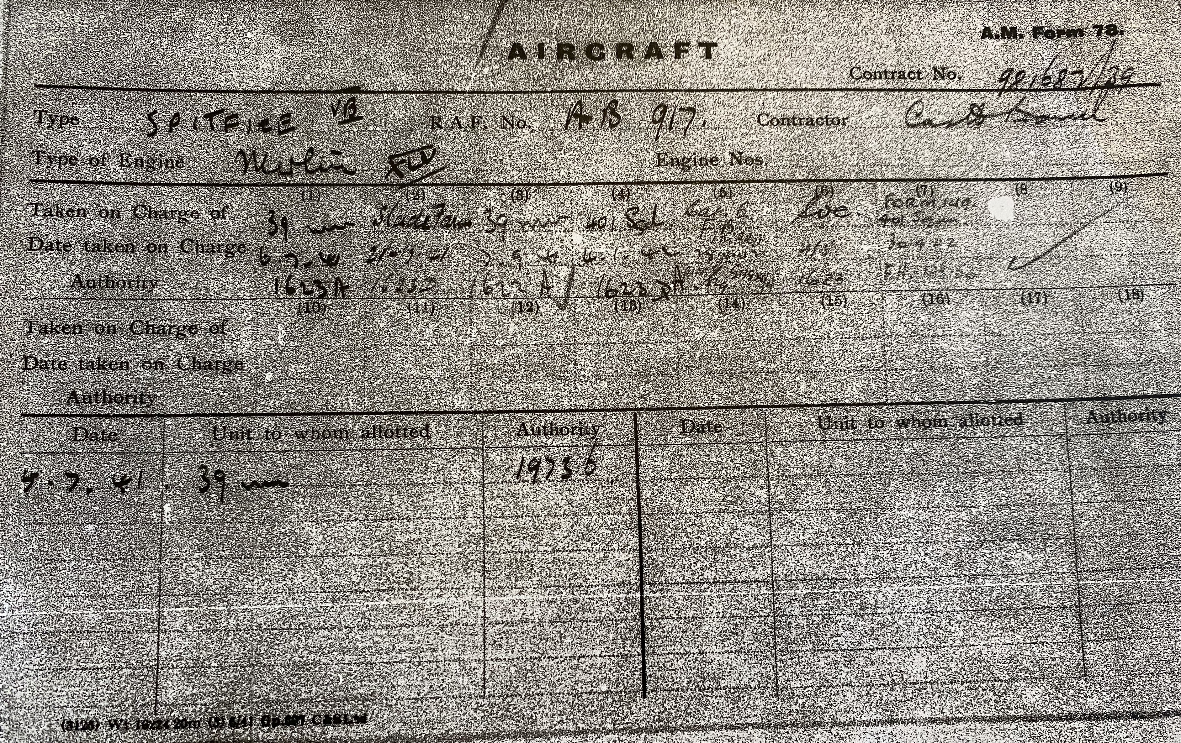 Official service record of Spitfire AB917 – The Inspirer – attributed to the Express & Star fund